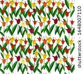 tulips flowers leaves seamless...   Shutterstock . vector #1648007110