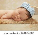 healthy newborn baby sleeping... | Shutterstock . vector #164804588