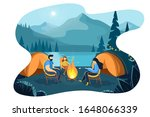 camping at night with bonfire... | Shutterstock .eps vector #1648066339