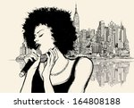 Vector illustration of an afro american jazz singer on cityscape background