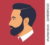 head of bearded man in profile. ... | Shutterstock .eps vector #1648084210