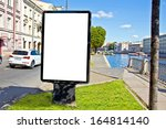empty advertising billboard on... | Shutterstock . vector #164814140