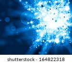 abstract blue lights xmas background - stock photo