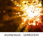 abstract gold lights xmas background - stock photo