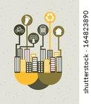 eco design over gray background ... | Shutterstock .eps vector #164823890