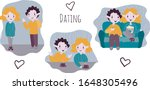 vector couple on a date | Shutterstock .eps vector #1648305496