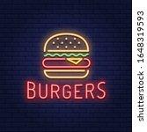 vector neon burger logo... | Shutterstock .eps vector #1648319593