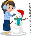 girl making snowman on white... | Shutterstock .eps vector #1648403326