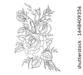 coloring page with roses.... | Shutterstock .eps vector #1648409356
