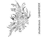 coloring page with flowers.... | Shutterstock .eps vector #1648409359