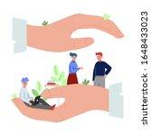 giant human hands protecting...   Shutterstock .eps vector #1648433023