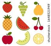 pineapple  grapes  pear ... | Shutterstock .eps vector #1648521949