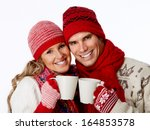 Christmas Couple Drinking Hot...