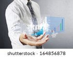 businessman with financial... | Shutterstock . vector #164856878