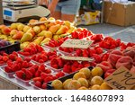 Strawberries, Peaches, Pears and Other Fruit at the Traditional Market in the City of Port de Pollenca, Mallorca, Spain 2019