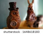 Owl Figurine With Clock With...