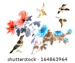 nature chinese element  plant... | Shutterstock . vector #164863964