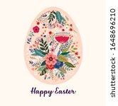 vector easter holiday card with ... | Shutterstock .eps vector #1648696210