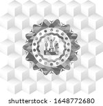 business competition, podium icon inside grey emblem with cube white background