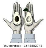 female hand palms holding two... | Shutterstock .eps vector #1648802746