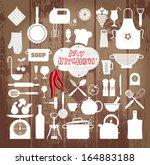 kitchen set icon.   Shutterstock .eps vector #164883188