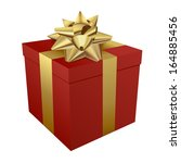 red gift box icon with white... | Shutterstock .eps vector #164885456