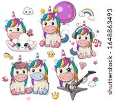 set of cute cartoon unicorns...   Shutterstock .eps vector #1648863493