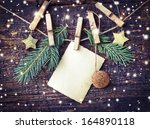 Christmas Card With Stars Fir...