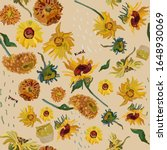 sunflower flowers on a... | Shutterstock .eps vector #1648930069