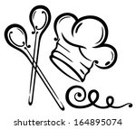 chef's hat with cooking spoons  ... | Shutterstock .eps vector #164895074