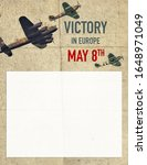 Poster background for Victory Day in Europe with historical aircrafts