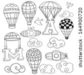 doodle elements  birds  clouds  ... | Shutterstock .eps vector #164900720