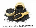 Black Sesame Seeds In Wooden...