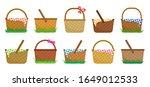 easter or picnic baskets  set... | Shutterstock .eps vector #1649012533