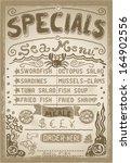 vintage fishery blackboard cut... | Shutterstock . vector #164902556