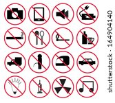 prohibition signs set | Shutterstock .eps vector #164904140