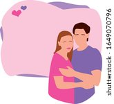 couple in love. the man and... | Shutterstock .eps vector #1649070796
