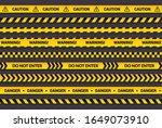 caution tape set  yellow... | Shutterstock .eps vector #1649073910