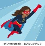 young woman in superhero... | Shutterstock .eps vector #1649084473