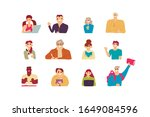collection of people reading... | Shutterstock .eps vector #1649084596