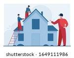 workers repairing roof.... | Shutterstock .eps vector #1649111986
