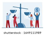 people putting money on scale.... | Shutterstock .eps vector #1649111989
