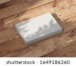white slim gift box mockup on... | Shutterstock . vector #1649186260