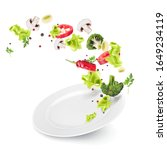 flying vegetables and lettuce... | Shutterstock .eps vector #1649234119