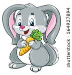 Cute Bunny With Carrot On A...