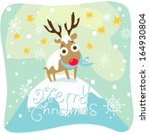 christmas card with reindeer | Shutterstock . vector #164930804