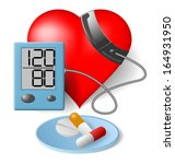 heart   blood pressure monitor... | Shutterstock .eps vector #164931950