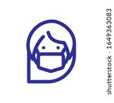 woman with mouth mask icon over ... | Shutterstock .eps vector #1649363083
