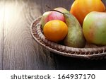 Set Of Various Fruits In Wicke...