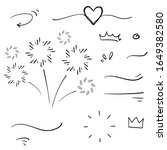 hand drawn collection of curly... | Shutterstock .eps vector #1649382580